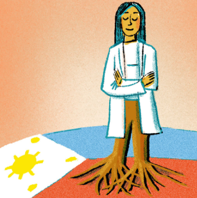 An illustration of Dr. Sheila Teves in a lab coat